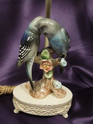 Antique French Boudoir Porcelain Blue Parakeet Love Birds Shabby Chic Lamp