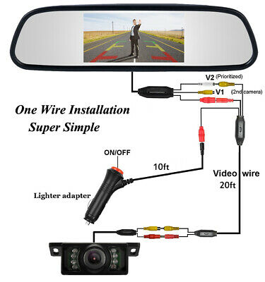 "4.3"" TFT LCD Car Rear View Mirror Monitor For Reversing Camera Kit & VCR DVD AU"