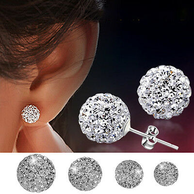 925 Sterling Silver Round Crystal Ball Disco Women Stud Earrings  6 8 10 12mm