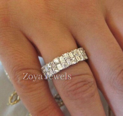 Certified 2.20ct White Round and Baguette Diamond Wedding Band in 14k White Gold