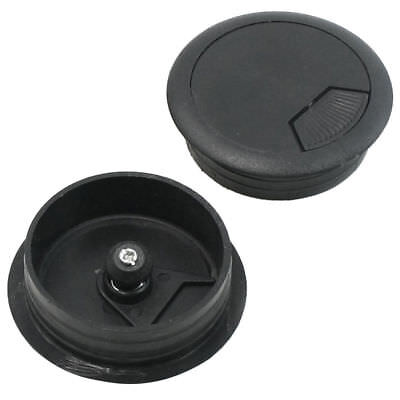 2Pcs 50mm Drill Hole Dia Desk Table Wire Cord Cable Grommets Cover Stopper Black