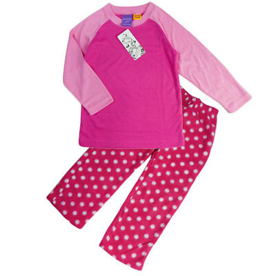 New Girls Winter Pyjamas Pjs Sleepwear Fleece Pants Long Sleeved Sizes 1-4 Pink