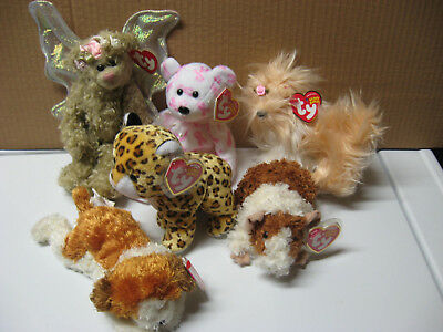 ty beanie  babies Dogs , leopard,guinea pig, bears,attached tags on all