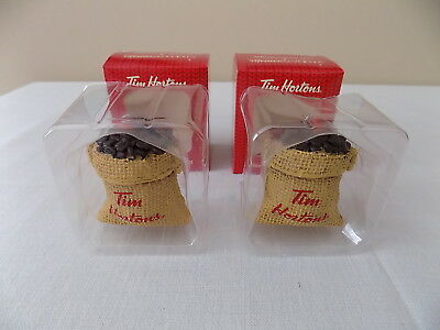 Lot of Two New Tim Hortons Replica Burlap Coffee Sack Christmas Tree Ornaments
