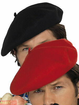 aaca37eda67 Adults French Beret Mens Ladies Black Red Mime Artist Hat Fancy Dress  Accessory