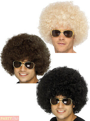Adults 70s Funky Afro Wig Mens Ladies Hippy Hippie Retro Fancy Dress Accessory