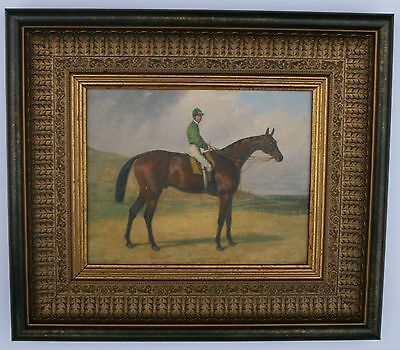 Horse and Jockey Framed Oleograph R213#W  Reproduction Antiques , Art