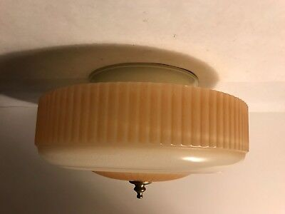 Antique flush mount Art Deco caramel glass light fixture ceiling chandelier 40s