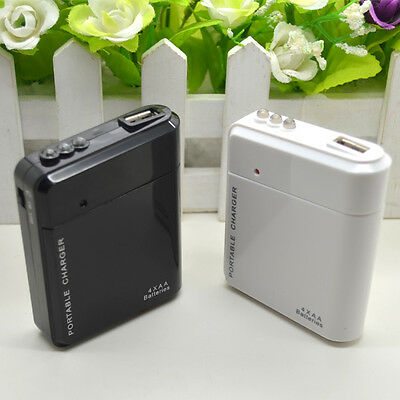 USB Emergency Portable 4 AA Battery Powers Charger For iPhone Android Cell Phone