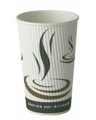 100 x 12oz Weaved Paper Coffee Cups Kraft Ripple 3 Ply + White Lids