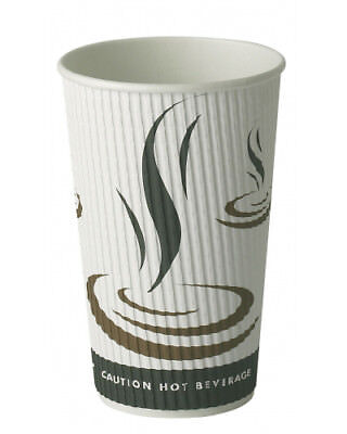 500 x 12oz Weaved Paper Coffee Cups Kraft Ripple 3 Ply + White Lids
