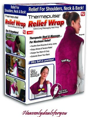 NIB sealed THERMAPULSE Extra Long Electric Heat RELIEF WRAP for neck/back-Burgun