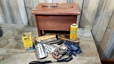 Vintage Hand Made shoe shine with foot rest and accessories Antique Primitive