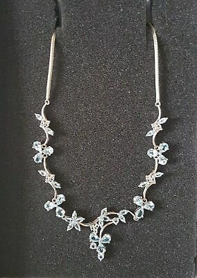 Beautiful fancy sterling silver and light blue topaz necklace