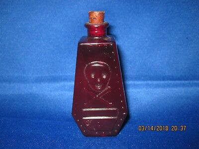 Vintage Red Poison Bottle With Cork