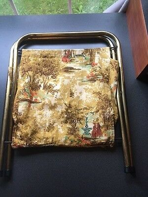 Vintage Sewing Knitting Bag Standing Metal Frame Cloth Woods Design (#12-52)