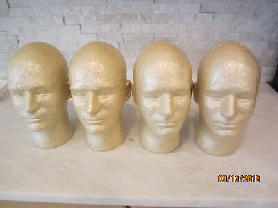 Giell Styrofoam Display Heads 4 Piece Lot Natural Color