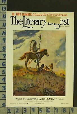 1924 Western American Indian Chief Equestrian Horse Illus Megargee Cover Zq72
