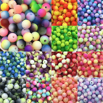 Round Pearl Matte multicolored Loose Spacer Beads Jewelry Making 4mm 5mm 6mm 8mm