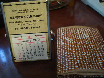 meadow gold dairy milk ice cream cheese butter calander  portland ind 1979