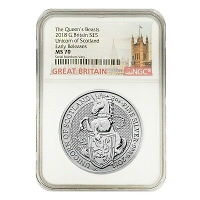 2018 Great Britain 2 oz Silver Queen's Beasts (Unicorn of Scotland) NGC MS 70 ER