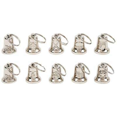 10pc Silver tone MOTORCYCLE BELLS Bike Ride Mount Gremlin Good Luck Biker Design