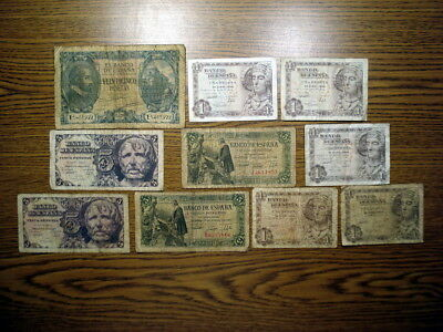 Lot of 10 Spain (1940-48) 1, 5, and 25 Pesetas