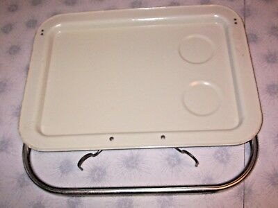 Vintage BEIGE ENAMEL STEEL Retro Metal Drive-in Car Hop Window Mount Food Tray