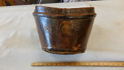 Antique Victorian Vintage Top Hat Leather Hat Box-no top