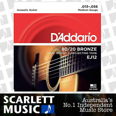 D'Addario EJ12 80/20 Bronze Medium Acoustic Guitar Strings EJ-12 13-56