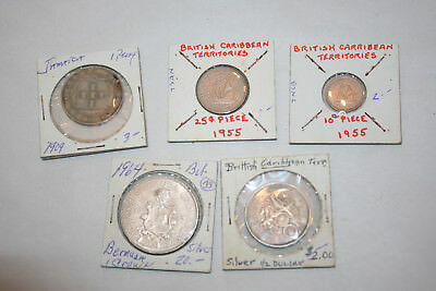 5 Coins Mixed Lot SILVER BRITISH ISLANDS TERRITORIES JAMAICA BERMUDA CROWNS