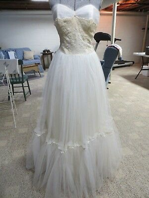 Vintage 1950's Ivory Strapless Tulle Satin Layer Wedding Gown