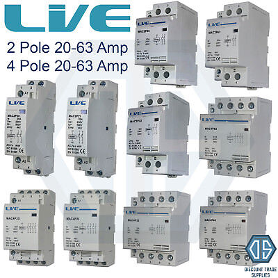 2 Pole 4 Pole 20 Amp 25 Amp 32 Amp 40 Amp 63 Amp Contactor Normal Open DIN Rail