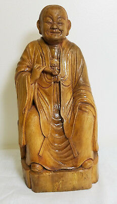 Antique Chinese Cared Deity Immortal Figure Hardwood Huali Signed Pigment
