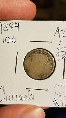 ***KEY DATE*** 1884 Canadian dime AG condition about good!!!  mintage: 150,000