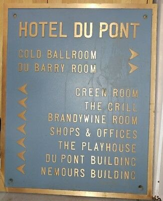 Hotel DuPont Heavy Metal Cast Iron Sign VTG Delaware extra large 30in x 24in NR