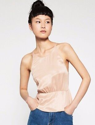 ZARA WOMEN  Blouse Top Shirt  nude dusty pink gold camisole straps size M