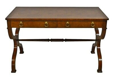 Baker Regency Style Burlwood Writing Desk Library Table