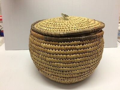 Beautiful Round African Basket With Lid Handmade Purchase In In The 1960's