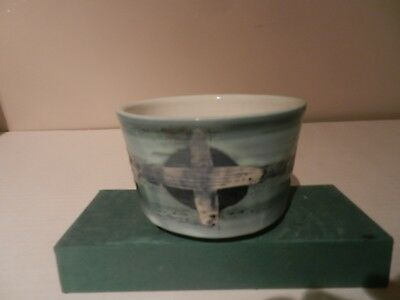 Vintage Rye Pottery Bowl with Cross design by David Sharp