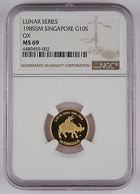 Singapore 1985 SM 1/10 Oz 999 10 SINGOLD Coin Year of Ox NGC MS69 GEM