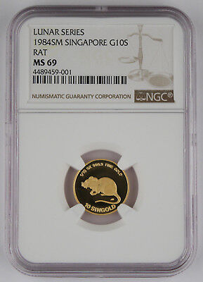 Singapore 1984 SM 1/10 Oz 999 10 SINGOLD Coin Year of Rat NGC MS69 GEM