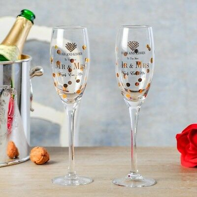 "Deluxe Pair of Modern ""Mr & Mrs"" Wedding Champagne Flutes - High Quality"