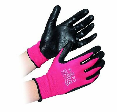 (Medium, Pink/black) - Shires All Purpose Yard Gloves. Shipping is Free