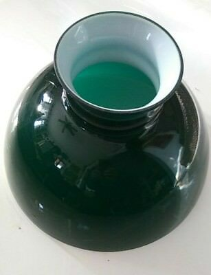 """Vintage Antique Dark Emerald Green Glass 10"""" Student Oil Lamp Shade New Old Stk"""