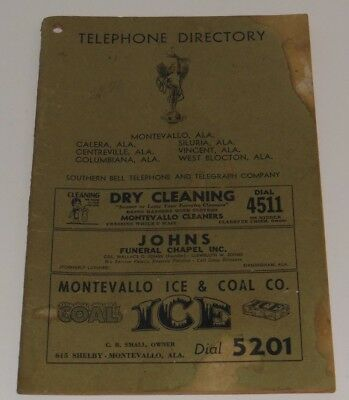 1949 Telephone Directory Montevallo Columbiana Siluria Vincent Alabama Book