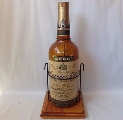 Vintage 1 gallon CANADIAN CLUB WHISKEY BOTTLE w/Display Stand 1951