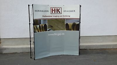 H+K86:1 Messefaltwand Pop Up Display Trolley Beleuchtung 210x230