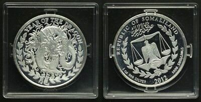 """Somaliland 1000 Shillings 2012 Drache """"Year of the Dragon"""" 1Unze Silber PP/Proof"""