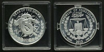 """Somaliland 1000 Shillings 2013 Schlange""""Year of the Snake"""" 1Unze Silber PP/Proof"""